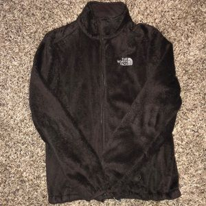 Brown fuzzy north face jacket